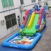 Comercial gigante tobogán de agua inflable con piscina de diapositivas inflables