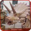 Cabeça tamanho real do dinossauro da simulação elevada do equipamento do campo de jogos