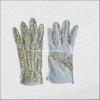 Gant de jardin en coton floral avec des points de PVC mini sur la paume (2216)