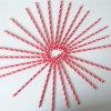Pailles à boire de papier d'imprimerie de coeur de couleur rouge pour le mariage