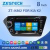8  de Speler van de Auto DVD van het Scherm van de Aanraking met het Systeem van de Huivering voor KIA K2 (zt-K802)