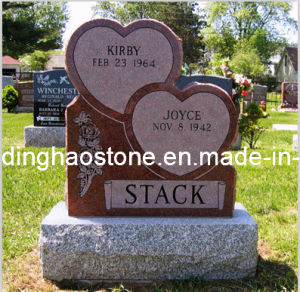 Double Heart Red Granite Headstone