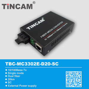 10/100m Single Mode Dual Fiber 20km External Power Media Converter