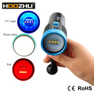 New Hoozhu V30 Three Color Lights Diving Video Light Max 2600lm Waterproof 120m 1*32650battery