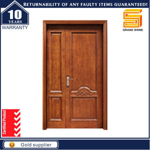 China Exterior Solid Wooden Fire Rated Double Leaf Entry Door ... on