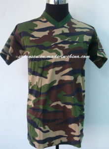 Unisex Plain V Neck Camo T-Shirt Made in China pictures & photos