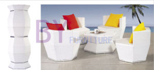 5 PCS White Stackable Outdoor PE Rattan Patio Furniture Set