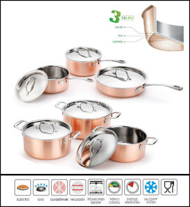 3 Ply Copper Cookware Set Kitchenware pictures & photos
