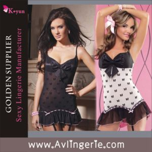 Bow Decoration Women Ladies Sexy Babydoll Lingerie (KLB1-156)
