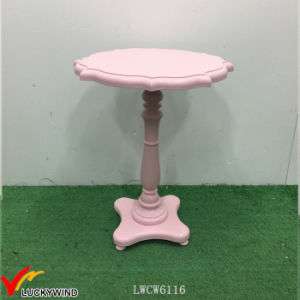 Antique Pink Paint Pedestal Wood Small Bedside Table pictures & photos