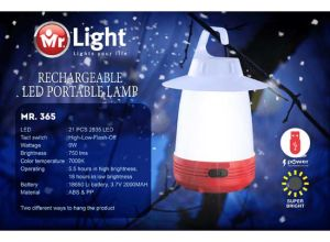 Li-on Battery Mr Light Rechargeable Energy Saving LED Camping Lamp
