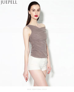 New European Oblique Sexy Gauze Ruffle Blouse Was Thin Tight Shoulder Vest Women Strapless Summer Silk Blouse Top pictures & photos