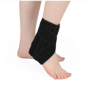 Black Adjustable Elastic Ankle Orthosis Support Brace for Sport