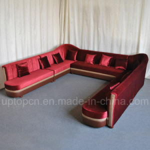 Upgrade U Shape KTV Booth Sofa with Red Velvet (SP-KS328) pictures & photos
