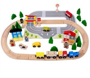 Hot Christmas Gift 92PCS Wooden Train Set Toy for Kids and Children pictures & photos