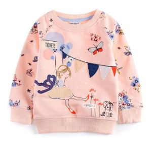 2017 Girl Flower Printing Fleece Hoodies in Children Clothes Sq-17103