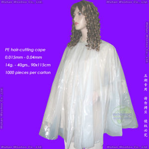 Disposable PE Hair-Cutting Apron pictures & photos