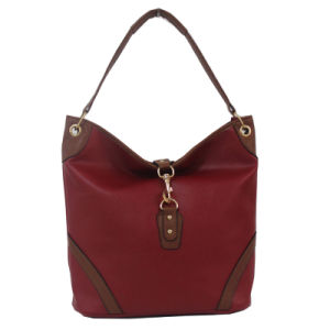 Classical Lovely Brown and Red Color Leather Shopping Handbag