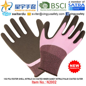 13G Polyester Shell Nitrile 3/4 Coated Inner, Sandy Nitrile Thumb Coated Outer Gloves (N2002) with CE, En388, En420, Work Gloves pictures & photos