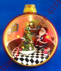 Polyresin Santa and Tree in Ball W/LED Light and Music
