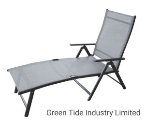 PVC//Polyester Lying Surface 174 x 51 cm Adjustable Backrest in 4 Steps blumfeldt Sunnyvale Deck Chair Sun Lounger Garden Lounger Colour: Grey Foldable Foot Section Water-Repellent Material