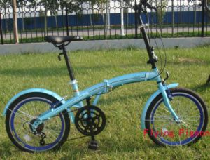 "16"" Variable Speed Blue Folding Bike (FDB-139)"