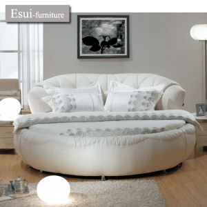 Stupendous The Modern Bedroom Furniture Of Round Leather Bed In White Color A 2 Machost Co Dining Chair Design Ideas Machostcouk