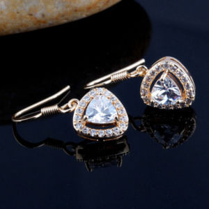 Silver AAA Zircon Inlaid Geometric Earrings pictures & photos