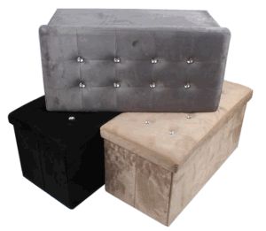Fabulous Faux Suede Large Folding Storage Ottoman With Bling Diamond Bralicious Painted Fabric Chair Ideas Braliciousco