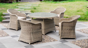 5PCS Dining Set Garden Rattan Wicker Chair Table Outdoor Furniture