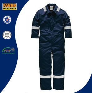 Mens Cotton High Visibility Navy Blue Insulated Coverall