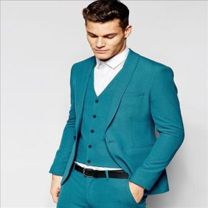 2016 Men′s Hot Sale Amazing Skinny Turquoise Suit Jacket pictures & photos