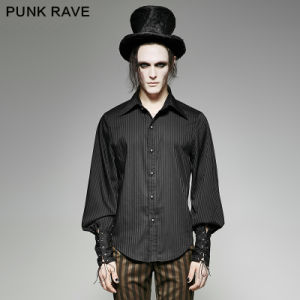 Y-719 Punk Rave Brand Steampunk Striped Excellent Handle Vertical Sense Plaid Shirt