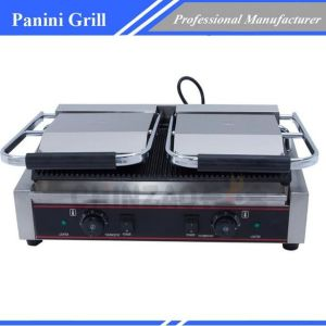 Panini Grill Double Plate Sandwich Press Grills Top Bottom Flat Surface Chz-810-2b pictures & photos