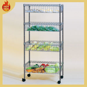 4 Tiers Chrome Storage Wire Shelf, Wire Shelving, Wire Basket Rack pictures & photos