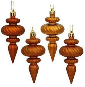 Copper Christmas Ornaments.4 Finish Finial Ornaments 4 Inch Copper Orange Decor 8 Pack
