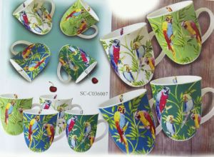 Porcelain Mug with Parrot Decals pictures & photos