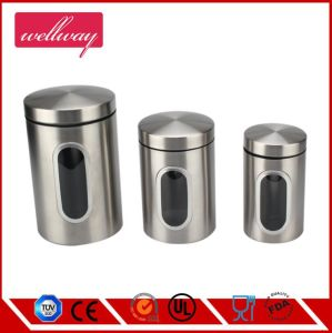 Stainless Steel Kitchen Canister with Clear Window