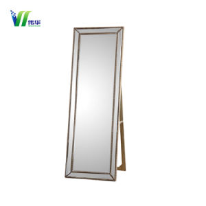 China Wooden Frame Stand Floor Mirror