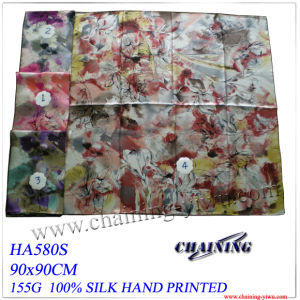 Silk Hand Printed Scarf with 90X90cm (HA580S)