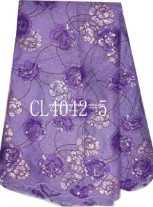 2013 Fashion Velvet Lace Fabric with Crystal Cl4042-5