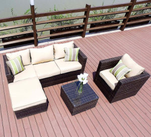 L Shape Outdoor Leisure Sofa Garden Furniture Rattan Sofa (S252)