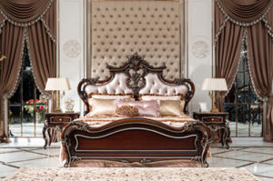 Antique Style King Size Wooden Bed Bedroom Set Furniture (xf-d-903)