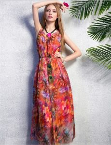Round Neck Sexy Chiffon Long Dress pictures & photos