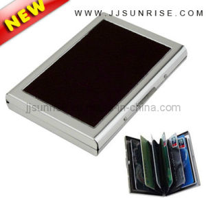 Stainless Steel Card Holder with Leather (JJ-SS-CRD06-black)