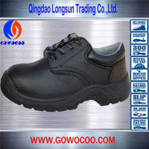 Lace-up Embossed Leather Safety Shoes/Footwear with Steel Toe (GWPU-1007)