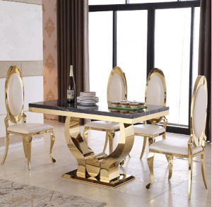 Modern Clical Hands Shape Base Black Marble Paper Dining Table