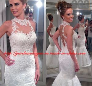 Real Wedding Show Illusion Neck SGS Shining Lace Bridal Dress (GDNY511)