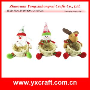 Christmas Decoration (ZY14Y430-1-2-3 15CM) Rattan Wood Christmas Basket pictures & photos