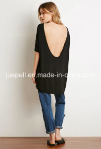 Dropped Short-Sleeved Backless Longline T Shirt pictures & photos